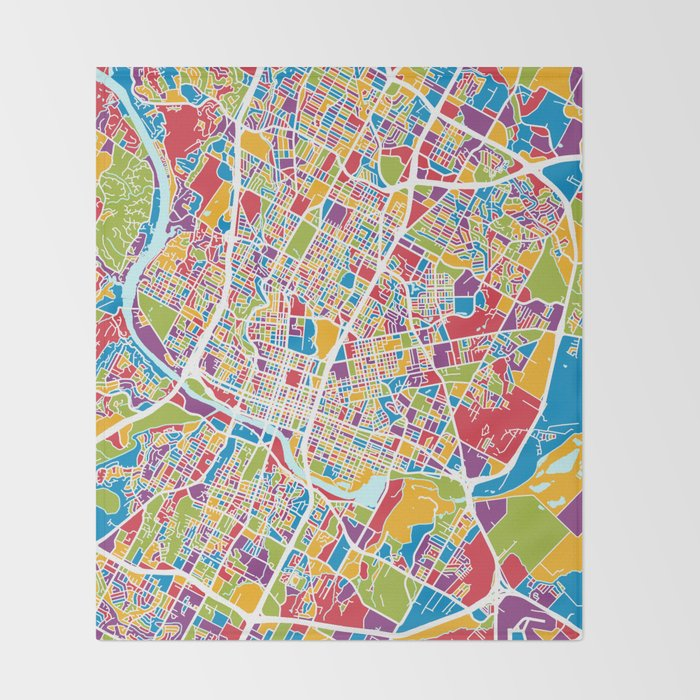 Austin Texas City Map Throw Blanket by artpause | Society6