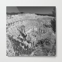 Amazing Bryce Canyon View in Monochrom Metal Print