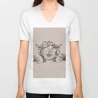 pomegranate V-neck T-shirts featuring pomegranate  by nene