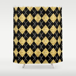 Black and Gold Check Pattern Shower Curtain