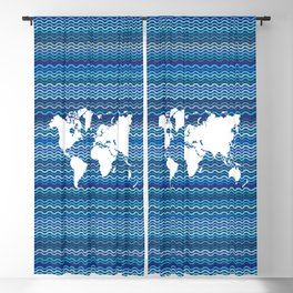 Wavy World Map Blue Blackout Curtain