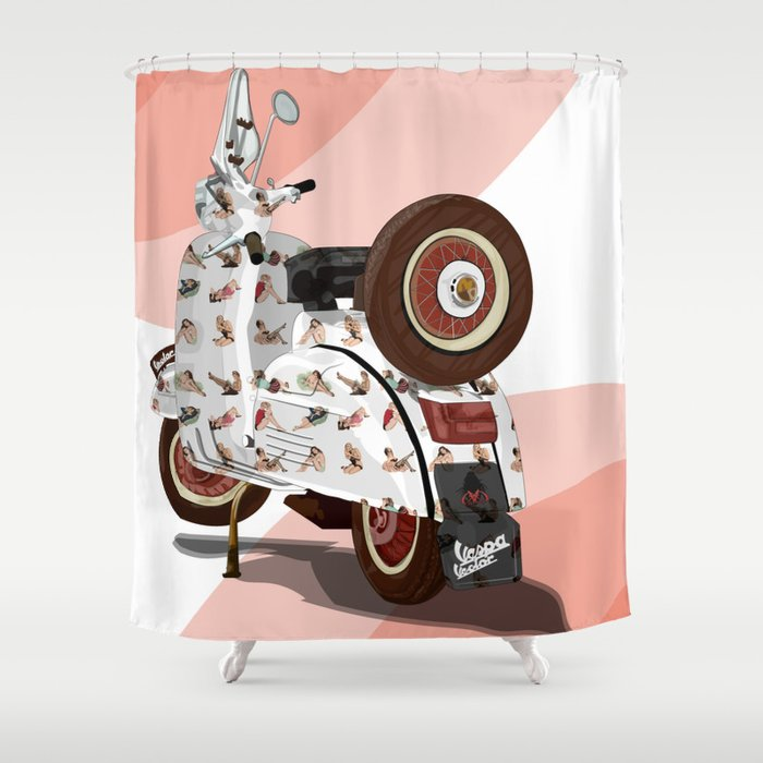 Vespa Vector PinUp Shower Curtain By Angelolarocca