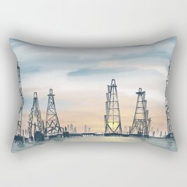 Hand Painting Offshore Oil Platform Rectangular Pillow