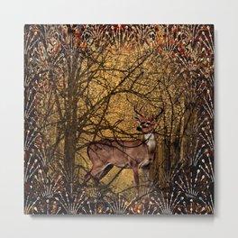 Autumn Pattern Deer In the Woods Metal Print
