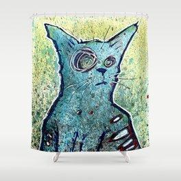 Kuro the Zombie Cat Shower Curtain
