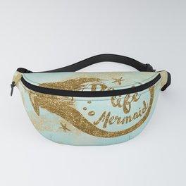 Real life Mermaid - Gold glitter lettering on aqua glittering background Fanny Pack