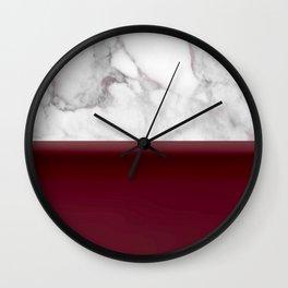 Marble Burgundy Two tone Stone design Wall Clock