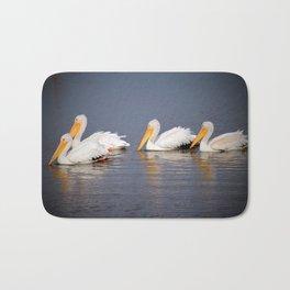 Four White Pelicans Bath Mat
