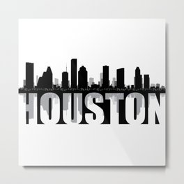 Houston Silhouette Skyline Metal Print