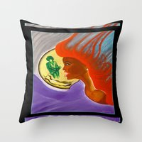 sister Throw Pillows featuring SISTER by KEVIN CURTIS BARR'S ART OF FAMOUS FACES