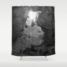 Sunlight in a dark cave Shower Curtain