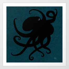 """Octopus Silhouette"" digital illustration by Amber Marine, (Copyright 2015) Art Print"