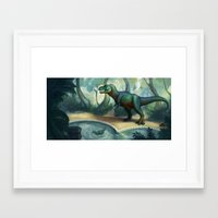 trex Framed Art Prints featuring Trex pool by KateArts