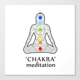 Woman in meditation with the seven chakras and its respective colors Canvas Print