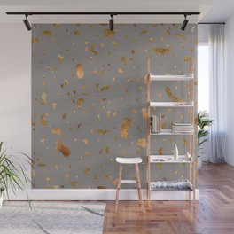 Elegant gray terrazzo with gold and copper spots Wall Mural