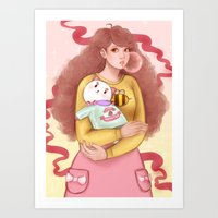 puppycat Art Prints featuring Bee and Puppycat by MW Illustration