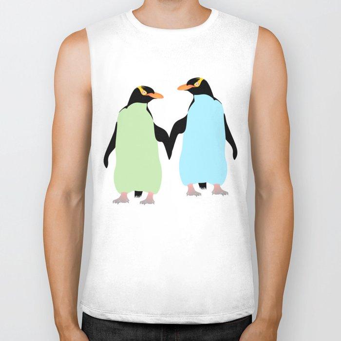 Gay Pride Penguins Holding Hands Biker Tank