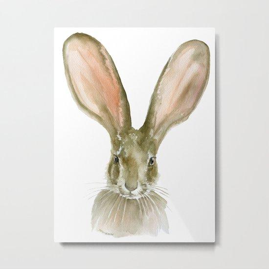Jack Rabbit Watercolor Metal Print