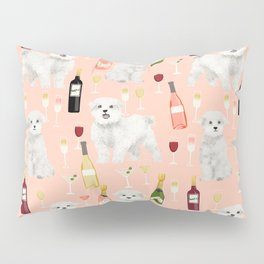 Maltese dog breed wine champagne summer pattern dog gifts pet friendly dogs Pillow Sham