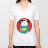 geisha V-neck T-shirts featuring Geisha by EinarOux