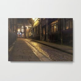 Cobbles street at night Metal Print