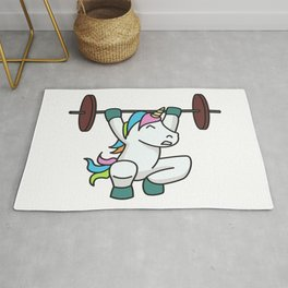 Weightlifting Unicorn fitness gift idea gym weight Rug