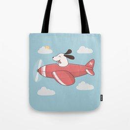 Kawaii Cute Dog Flying Airplane Tote Bag