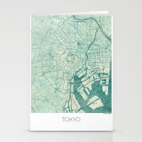 vintage map Stationery Cards featuring Tokyo Map Blue Vintage by City Art Posters