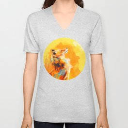 Blissful Light - Fox portrait Unisex V-Neck