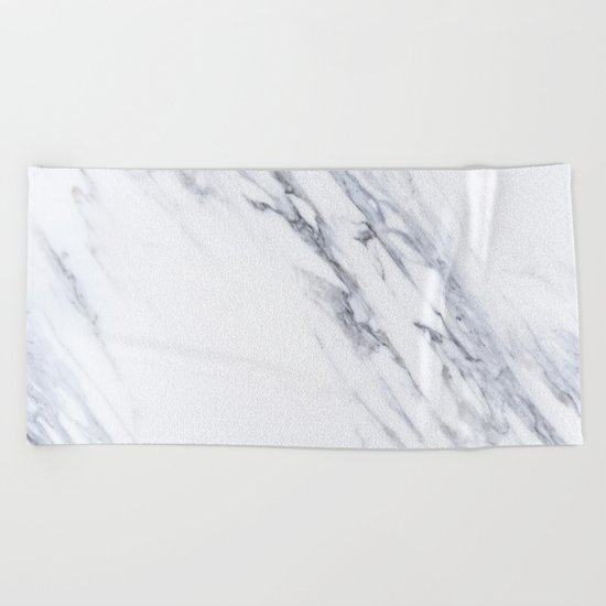 White Marble with Classic Black Veins Beach Towel