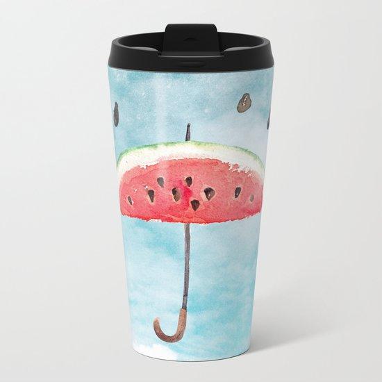 Melon- Fruity Summer Rain Metal Travel Mug
