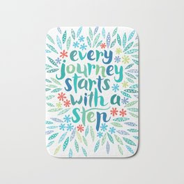 Every journey starts with a step BLUE Bath Mat