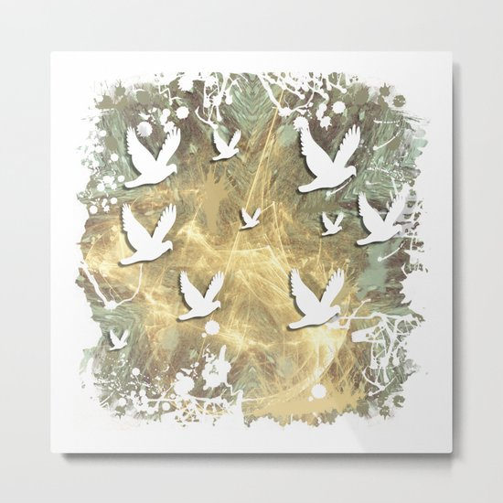 Birds on beige messy kaleidoscope Metal Print