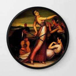 Classical Masterpeice 'Alegrías' by Julio Romero de Torres Wall Clock
