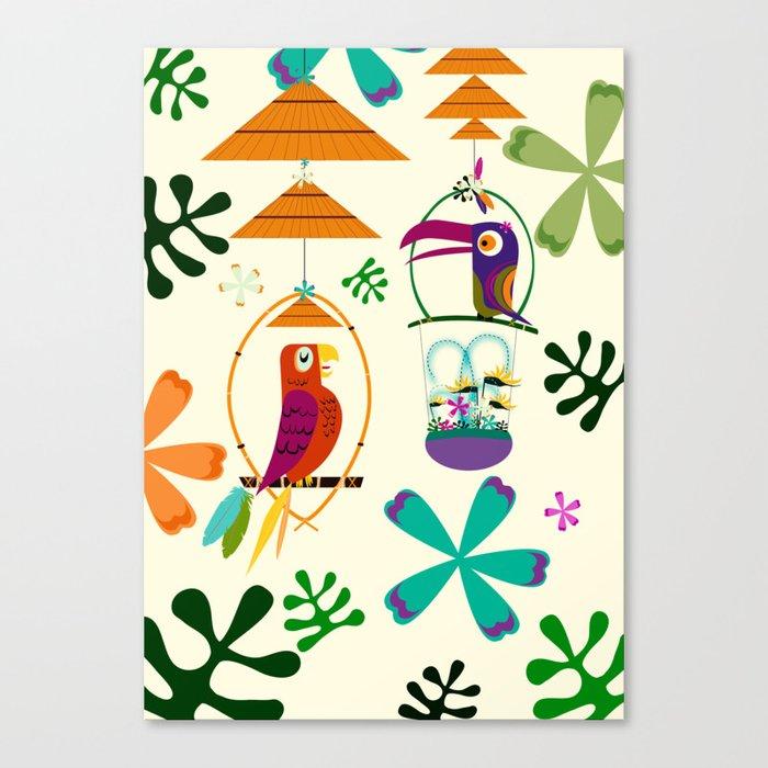 Vintage Modern Tiki Birds Leinwanddruck
