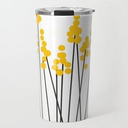 Hello Spring! Yellow/Black Retro Plants on White #decor #society6 #buyart Travel Mug