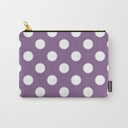 Pomp and Power - violet - White Polka Dots - Pois Pattern Carry-All Pouch