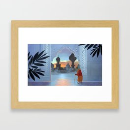 Old Man and the Sunset Framed Art Print