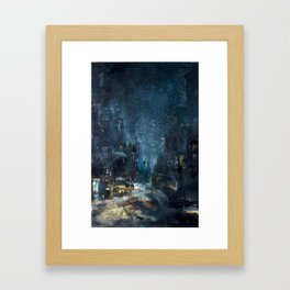 Snowstorm in Brooklyn Framed Art Print