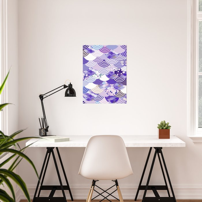Nature background with japanese sakura flower, Cherry, wave circle. Ultra Violet Color of the Year Poster