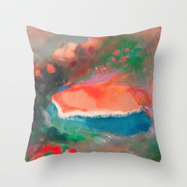 Sleeping Woman In The Flower Field Throw Pillow