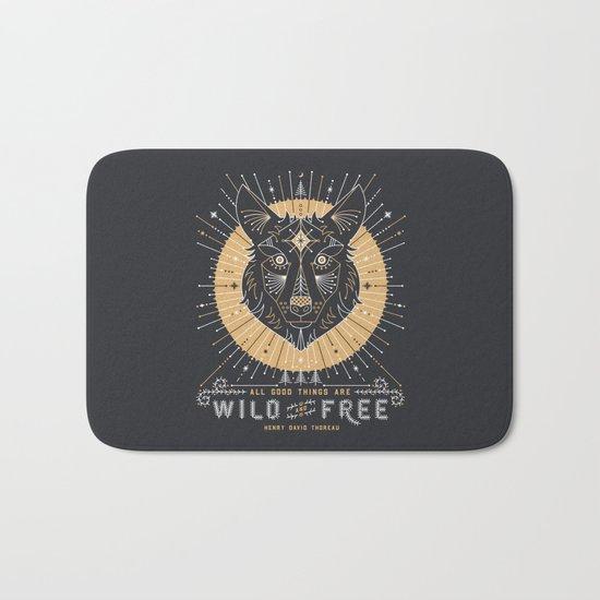 Wild & Free Wolf – Gold & Grey Bath Mat
