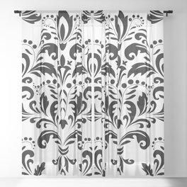 Bold Black & White Damask Pattern Sheer Curtain