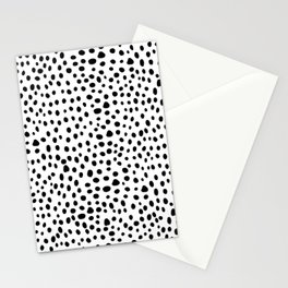 Modern Black and White Hand Drawn Polka Dots Stationery Cards