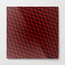 Fashionable large lozenges from small red intersecting squares in gradient dark cage. Metal Print
