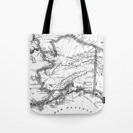 Vintage Map of Alaska (1883) BW Tote Bag