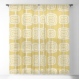 Mid Century Modern Atomic Rings Pattern Mustard Yellow Sheer Curtain