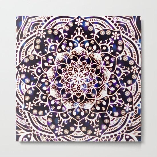 'Glowing Namaste' Blue Purple Pink White Mandala Metal Print