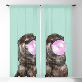 Otter with Bubble Gum Blackout Curtain