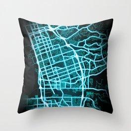 Chula Vista, CA, USA, Blue, White, Neon, Glow, City, Map Throw Pillow
